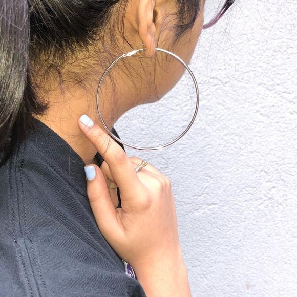 Jewelry 925 Sterling Silver Big Hoop Earrings Diameter 8cm Poshmark